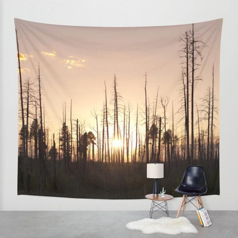 Matchstick Forest Sunset Wall Tapestry Lost in Nature