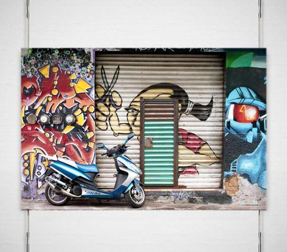 Mexico City Scooter and Street Art, Street Photography Lost Kat Photography
