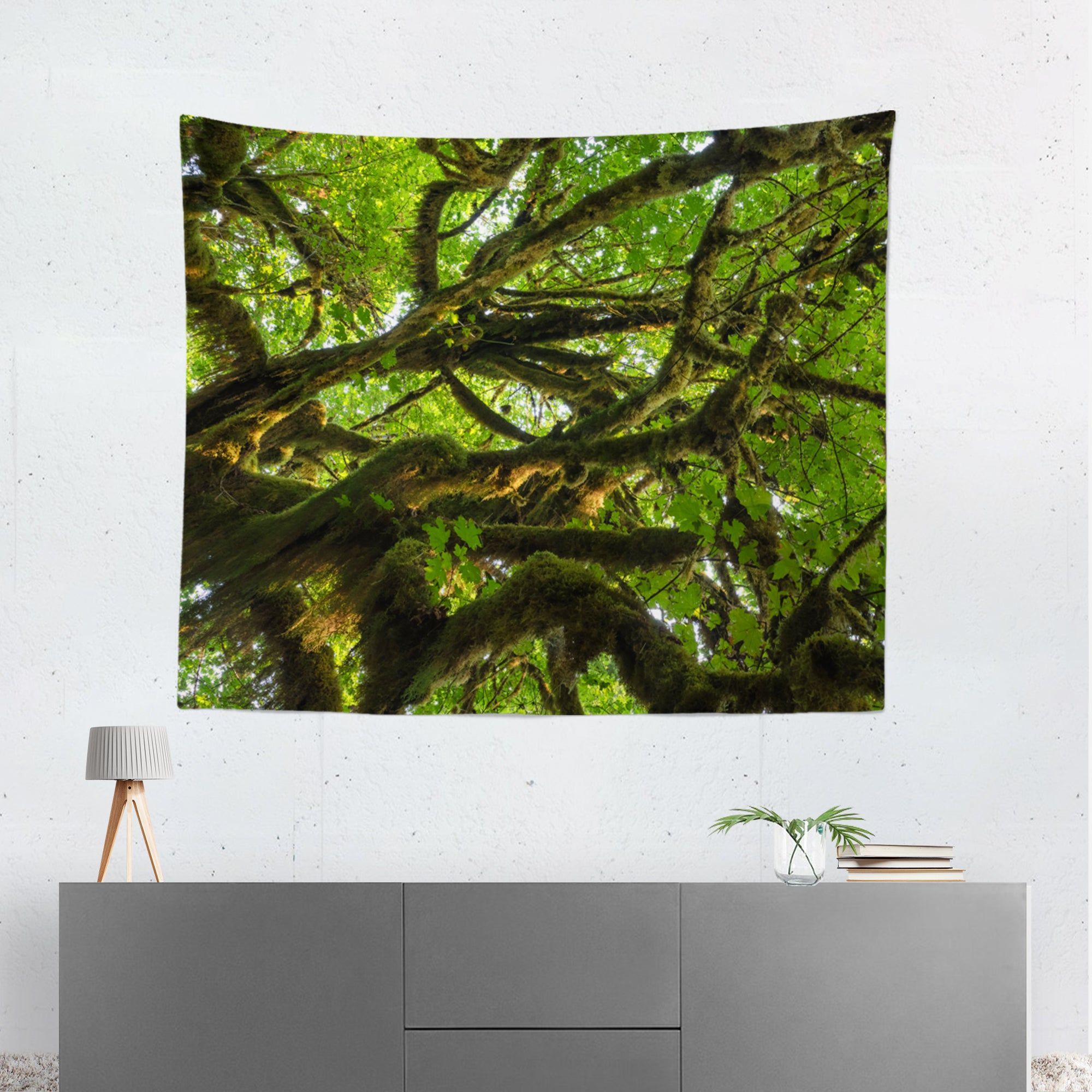 Mossy Tree Above Nature Microfiber Wall Tapestry
