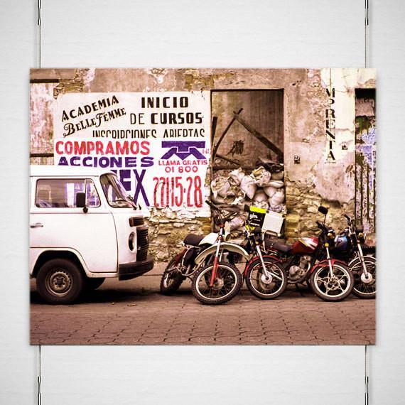 Motorcycles and Van, Mexico Fine Art Print Lost Kat Photography