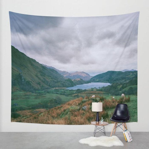 Mountain Valley in Wales Scenic Wall Tapestry Lost in Nature