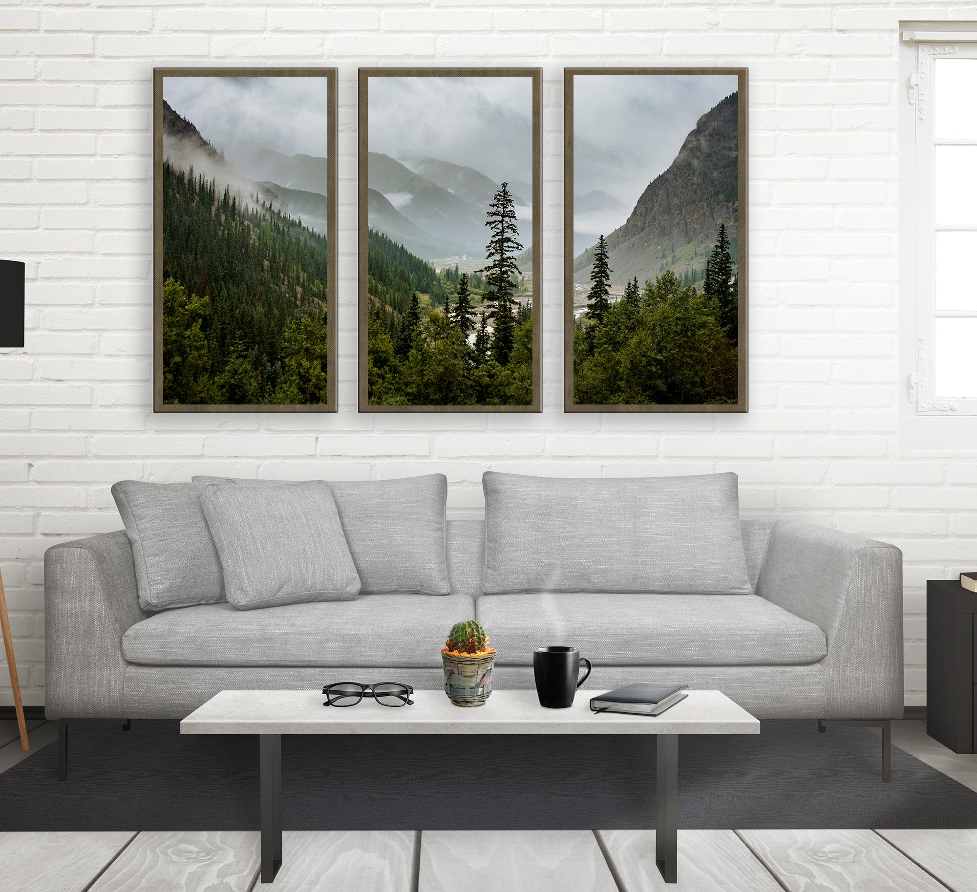Mountain Valley Colorado Tryptic, Large Canvas Wall Art or 3 Prints
