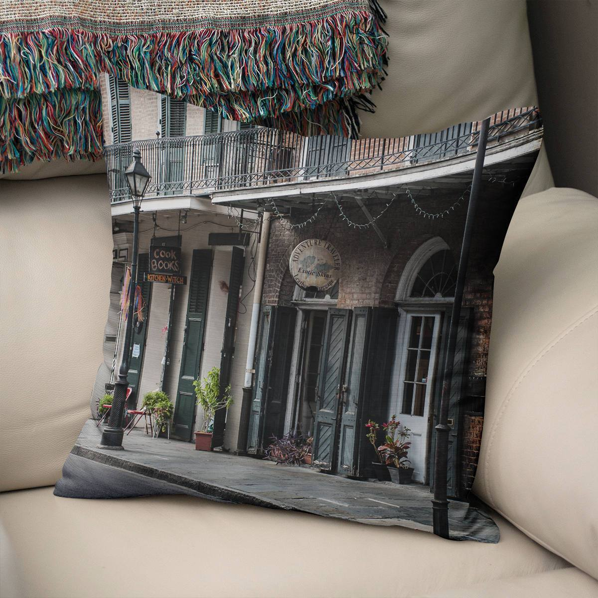 New Orleans French Quarter Throw Pillow Lost in Nature