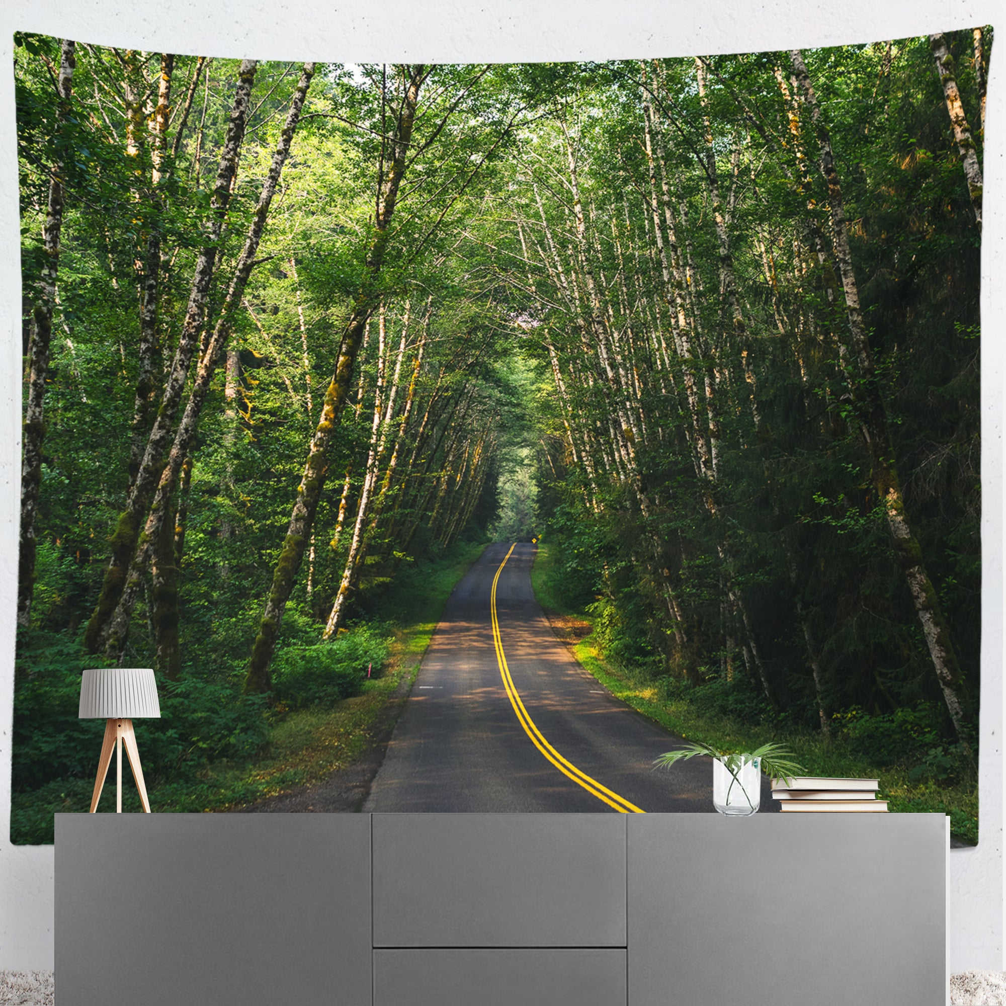 Road Through The Rainforest Microfiber Wall Tapestry