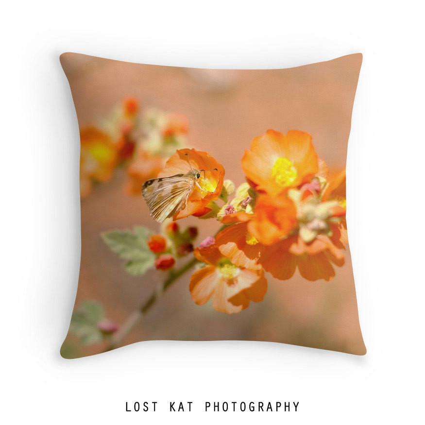 Orange Butterfly Throw Pillow Lost In Nature