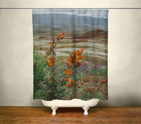 Oregon Painted Hills & Wildflowers Shower Curtain