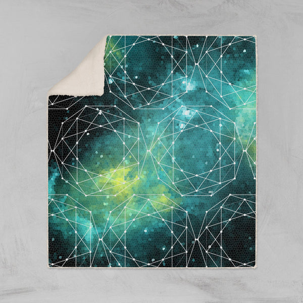 Outer Space Geometric Blue Throw Blanket - Sherpa Fleece Lost in Nature