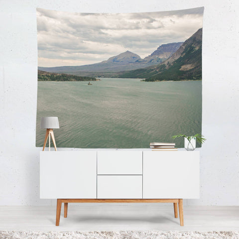 Peaceful Lake Photography Wall Tapestry Lost in Nature