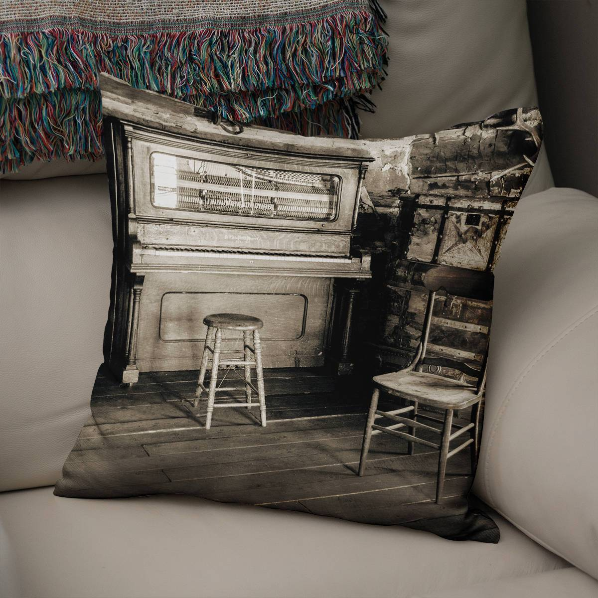 Piano Cabin Throw Pillow Cover Lost in Nature