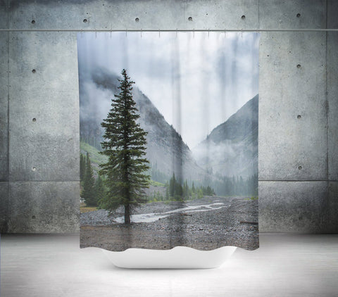 Pine Tree and Mountain Range Shower Curtain Lost in Nature