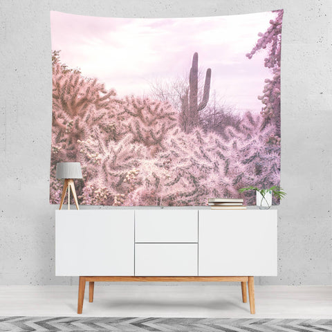 Pink Cactus Wall Tapestry Lost in Nature
