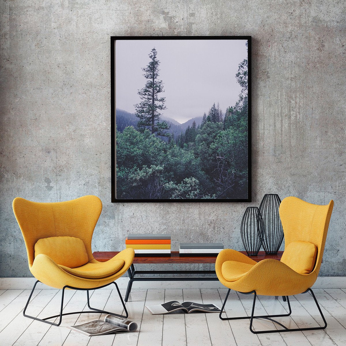 Rainy Sierra Nevada Mountain View, Modern Wall Art Print