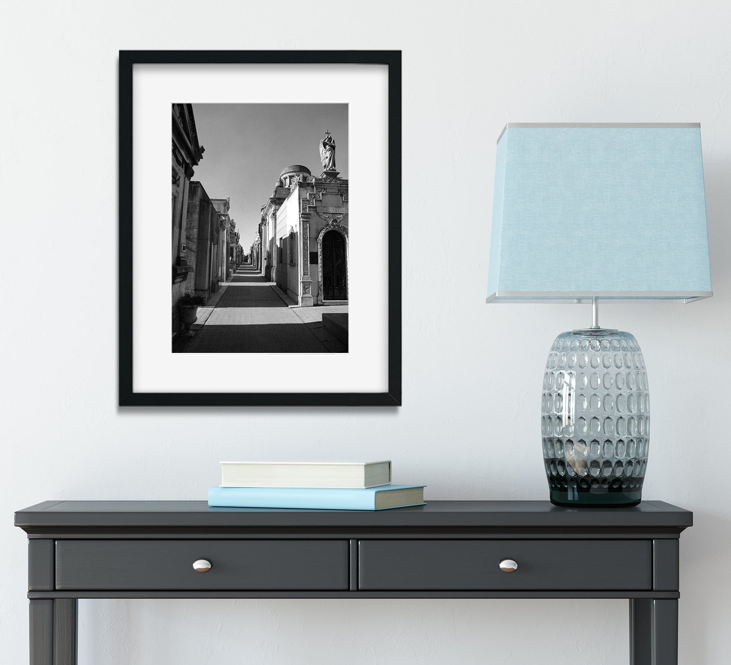 Mausoleums in Recoleta, Black and White Film Art Print Framed
