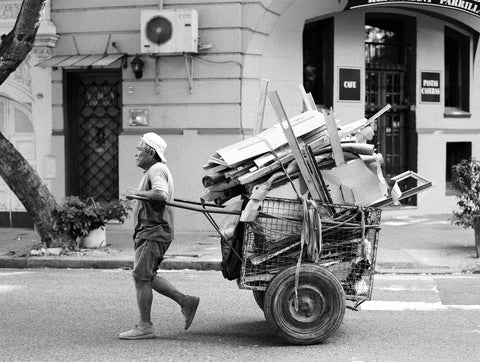 Recycle Man, Buenos Aires Black and White Fine Art Photo