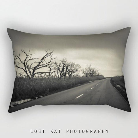 Road Less Traveled Rectangular Throw Pillow Lost In Nature