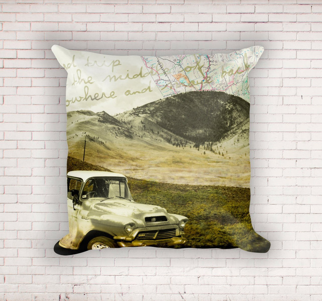 "Road Trip Collage, Rustic 18"" Throw Pillow Lost In Nature"