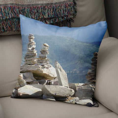 Rock Cairn Decorative Throw Pillow Lost in Nature