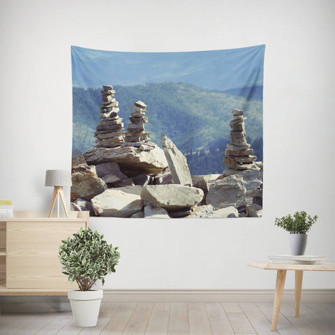 Rock Cairn Zen Wall Tapestry Lost in Nature