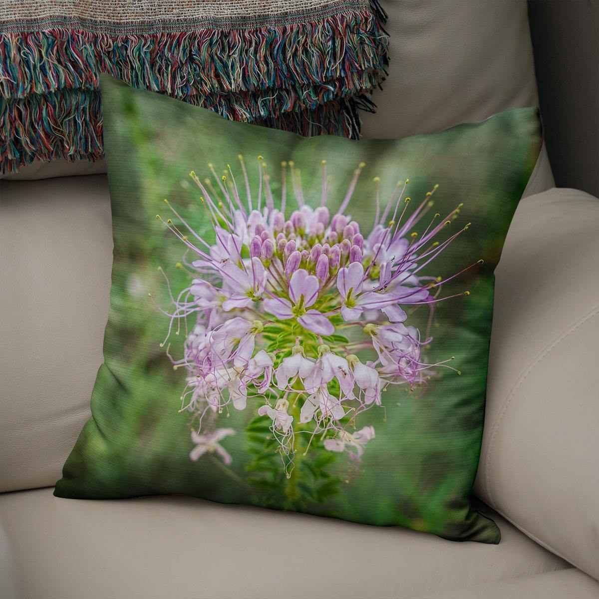 Rocky Mountain Bee Balm Floral Throw Pillow Cover Lost in Nature