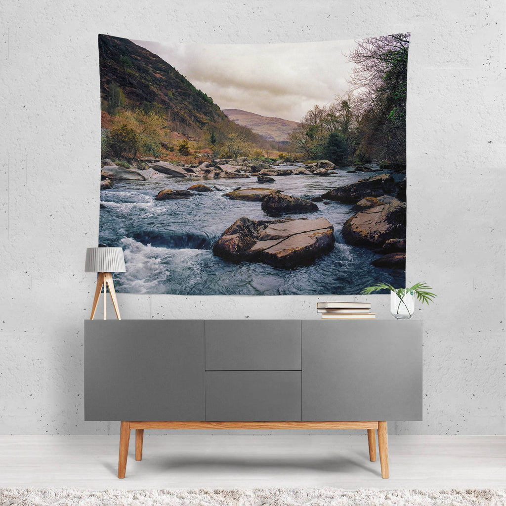Rocky River Wall Tapestry - Wales Lost in Nature