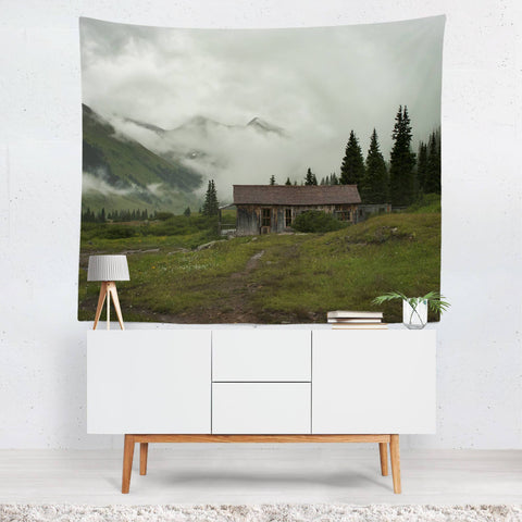 Rustic Cabin - Colorado Wall Tapestry Lost in Nature