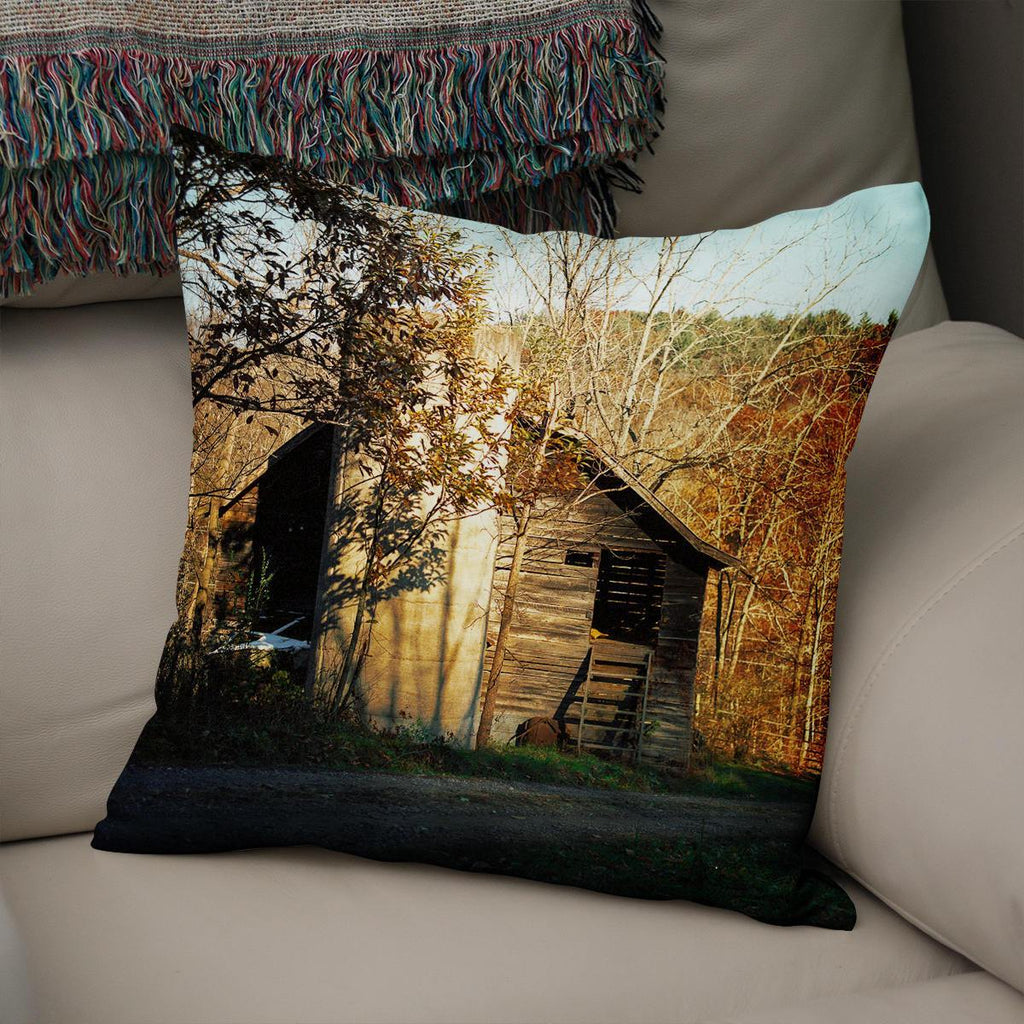 Rustic North Carolina Barn Throw Pillow Cover Lost in Nature