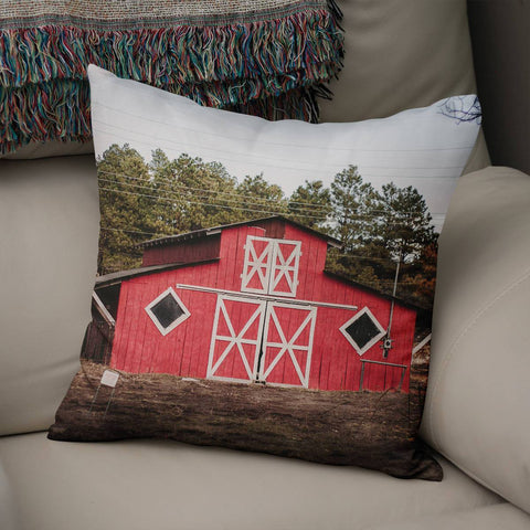 Rustic Red Barn Throw Pillow Cover Lost in Nature