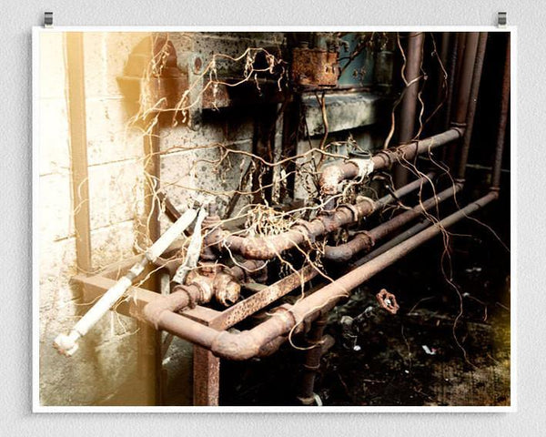 Rusty Pipes, Industrial Photography Fine Art Print Lost Kat Photography