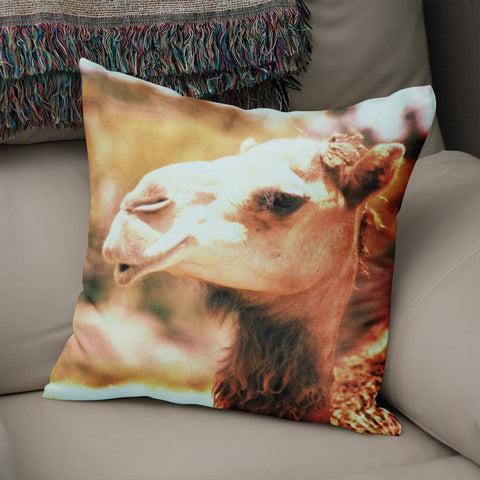 Sassy Camel Throw Pillow Cover Lost in Nature