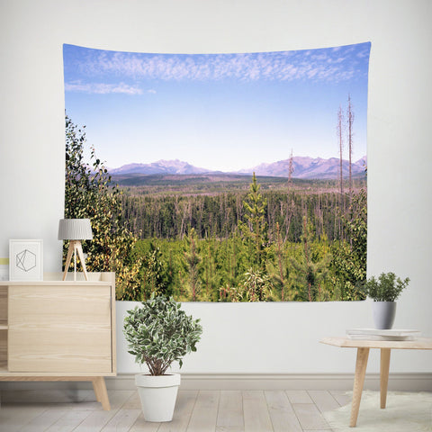 Scenic Idaho Vista, Mountain Wall Tapestry Lost in Nature