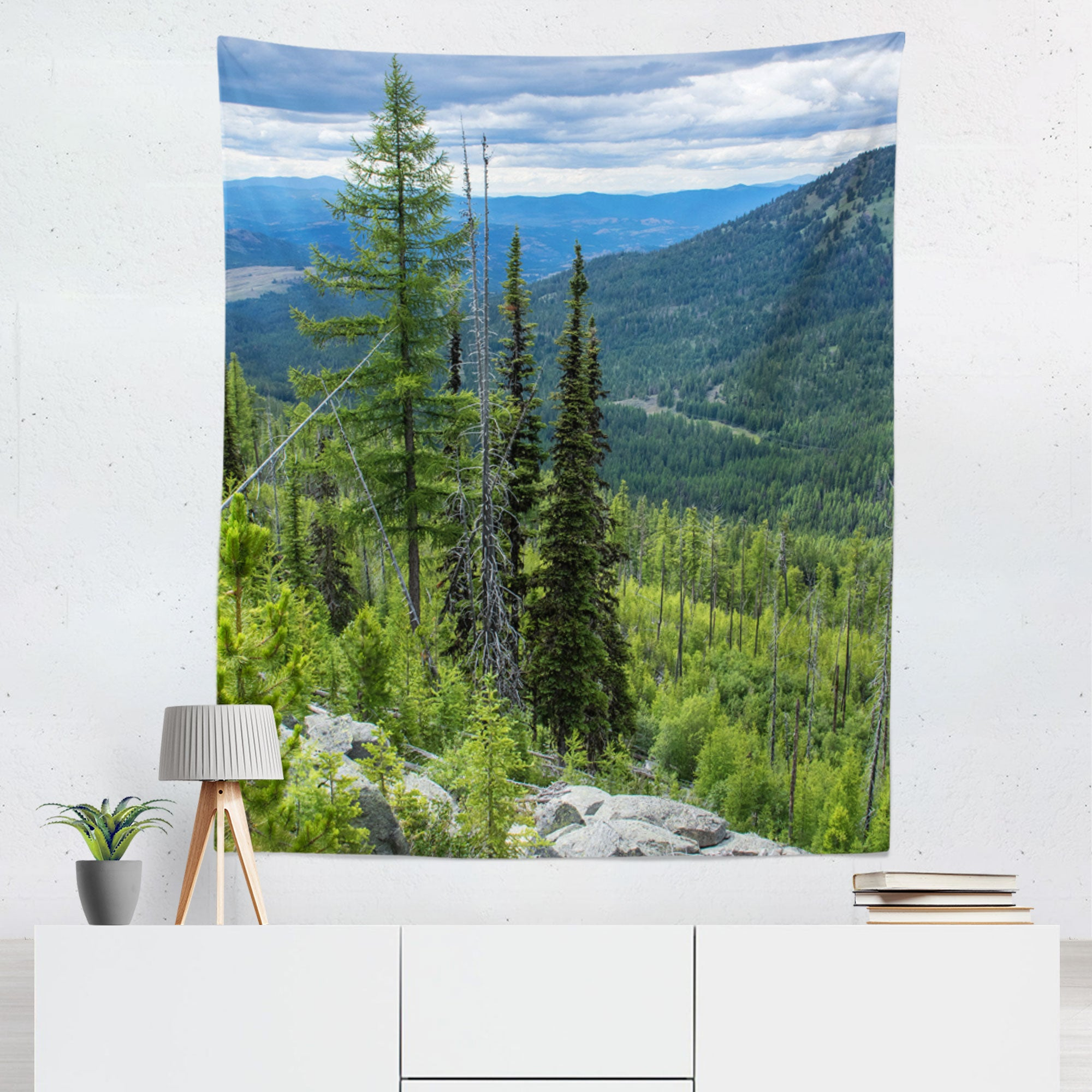 Lush Mountain Overlook Scenic Microfiber Wall Tapestry