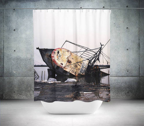 Shipwreck Nautical Shower Curtain Lost in Nature