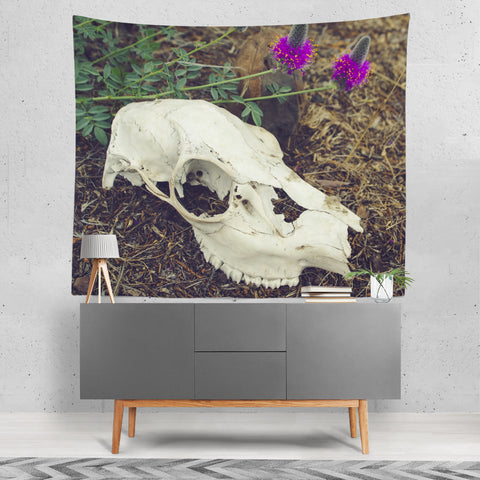 Macabre Skull & Wildflowers Wall Tapestry