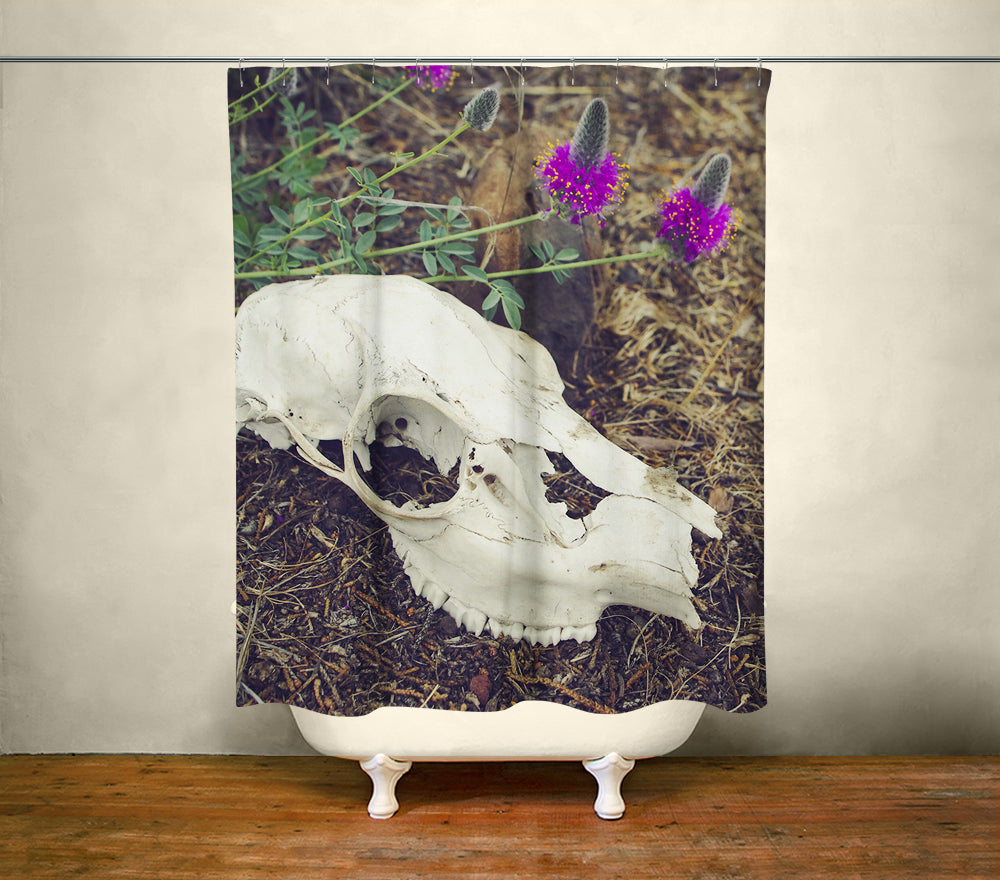 Macabre Skull Wildflowers Shower Curtain