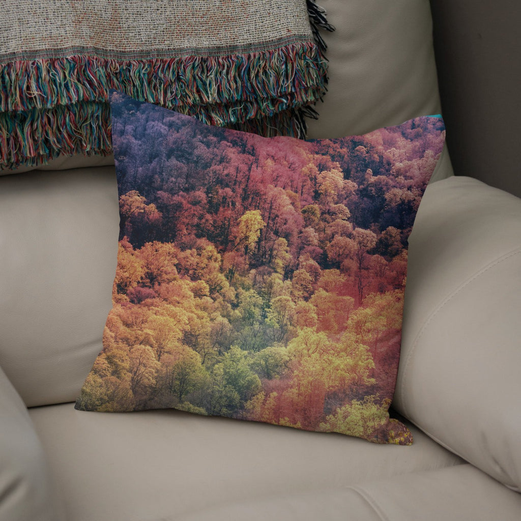 Smoky Mountain Autumn Leaves Throw Pillow Lost In Nature