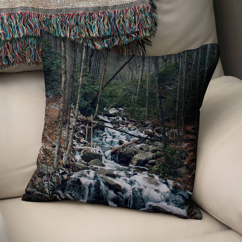 Smoky Mountain Stream Throw Pillow Cover Lost in Nature
