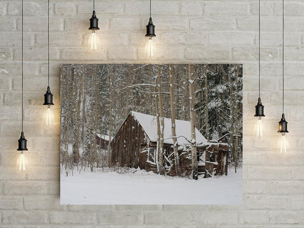 Snowy Cabin, Colorado Rustic Photography - Fine Art Print Lost Kat Photography