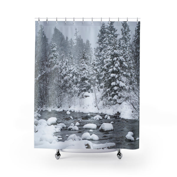 Snowy Forest Colorado Shower Curtains Printify