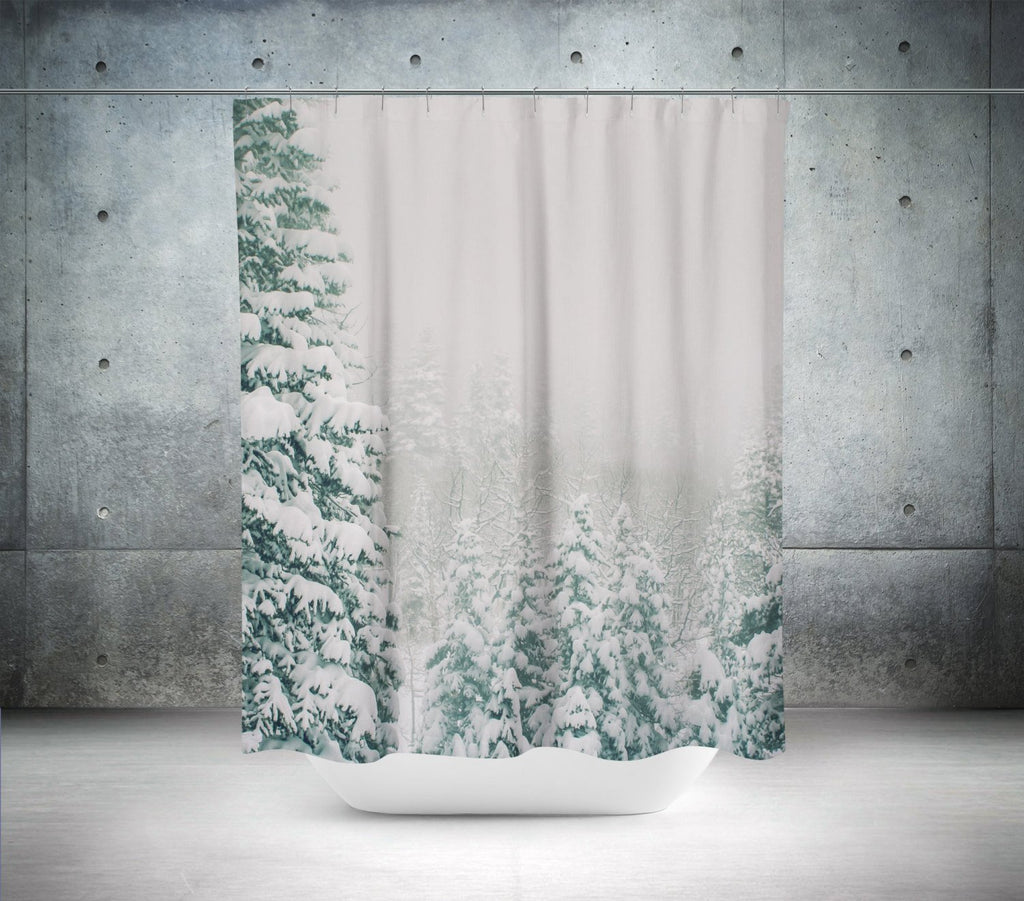 Snowy Forest Scene Shower Curtain Lost In Nature
