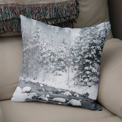 Snowy Forest Scene Throw Pillow Lost in Nature