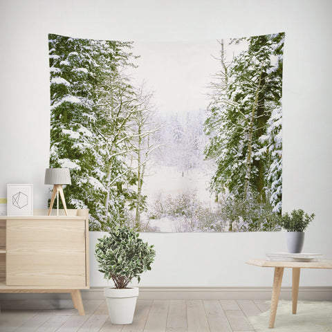 Snowy Forest Wall Tapestry Lost In Nature