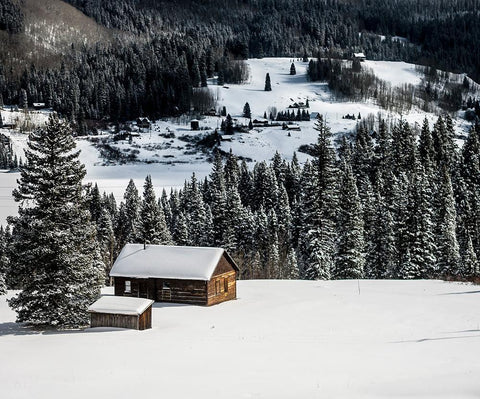 Snowy Winter Cabin, Colorado Photography - Fine Art Print Lost Kat Photography