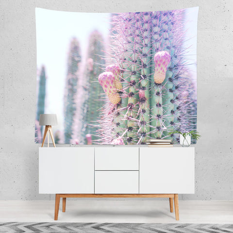 Spiky Cactus Wall Tapestry - Pink and Green Lost in Nature