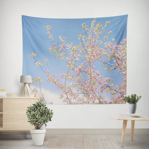 Spring Bloom Apple Blossom Pink Wall Tapestry Lost in Nature