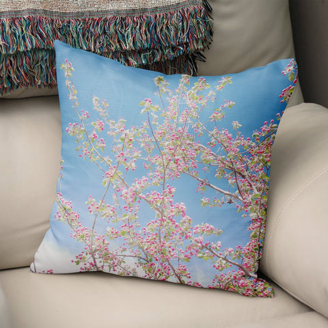 Spring Bloom Apple Blossom Throw Pillow Cover Lost in Nature
