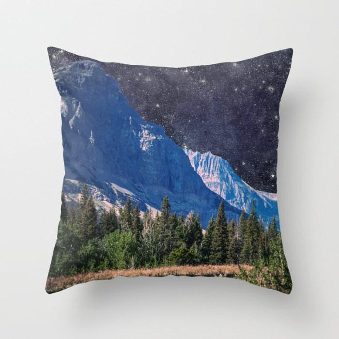 "Starry Night, Surreal Mountain 18"" Throw Pillow Lost In Nature"
