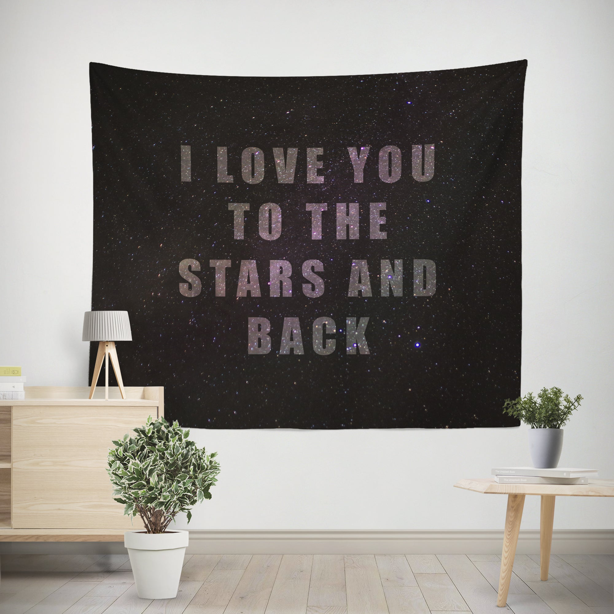 Love you to the Stars and Back Quote Microfiber Wall Tapestry