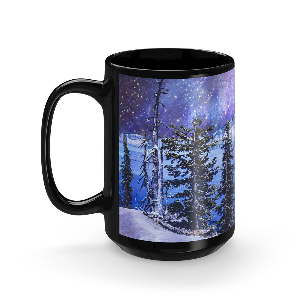 Surreal Crater Lake Large Coffee Mug - 15oz Black Ceramic Lost in Nature