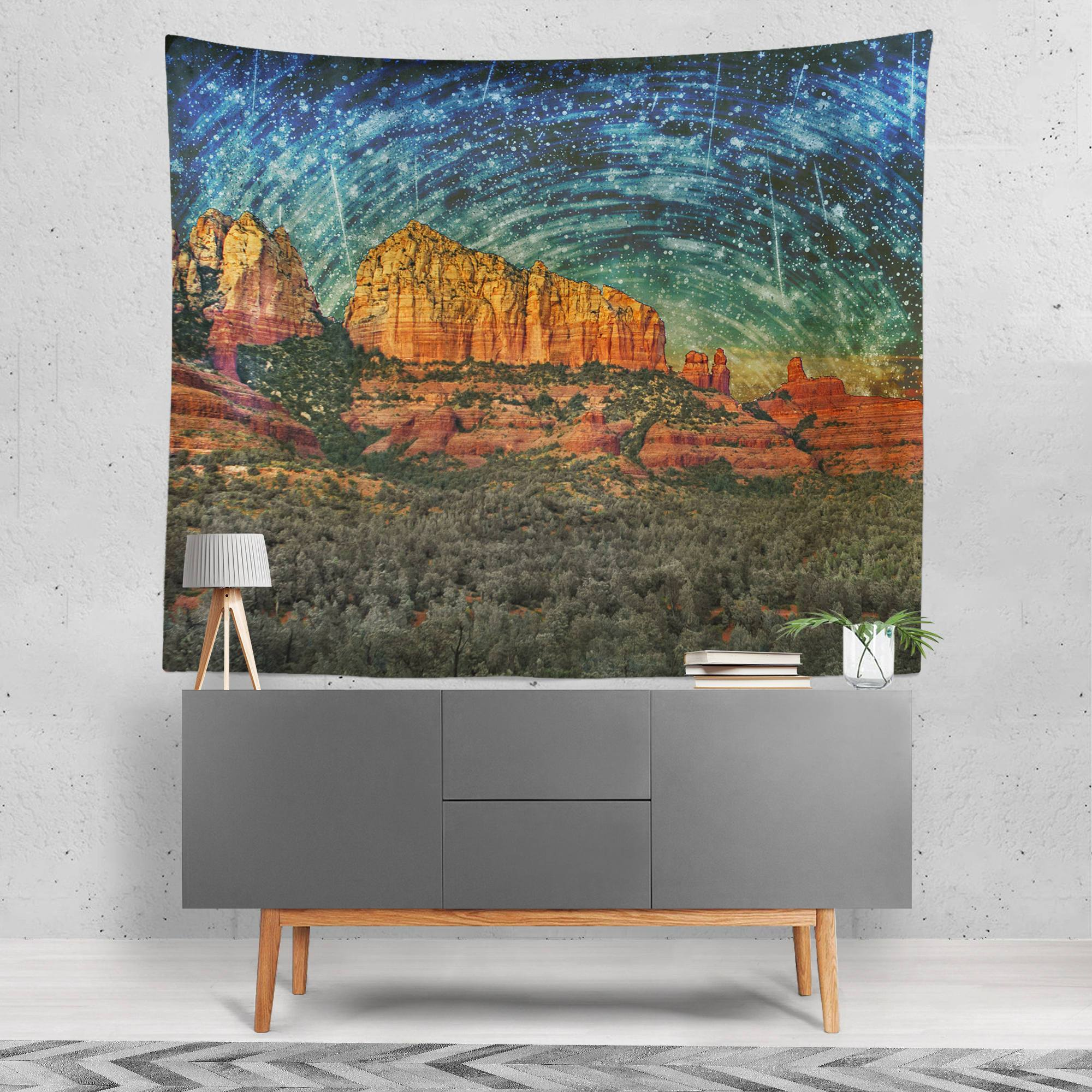 Surreal Sedona in Space Wall Tapestry Lost in Nature