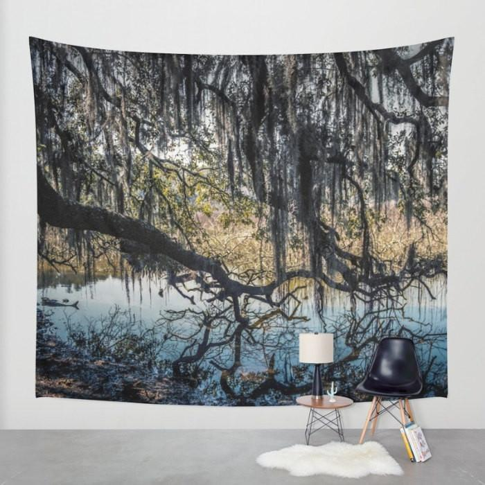 Swamp Tree and Spanish Moss, Nature Wall Tapestry Lost In Nature